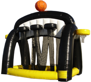 Inflatable basketball eight hoops